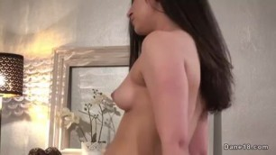 Brunette rides dick in cowgirl in bed