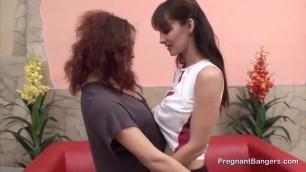 A Dildo for a Preggo Lesbian Slut