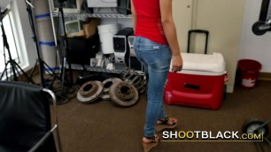Hot latina blonde gets on all fours and takes directors entire BBC