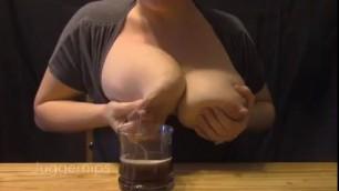 Amateur Huge Natural Breasts Milking 2