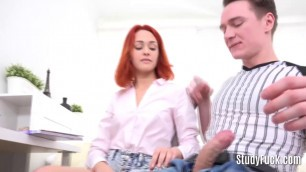 Incredibly beautiful red haired angel gets her tight butt hole fucked hard