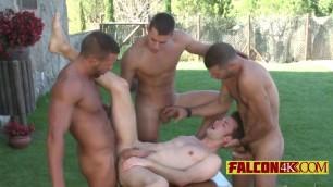 Jumbo boys feasting on a gay slut like never before