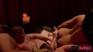 New american couple is welcomed to the swing house by horny couples