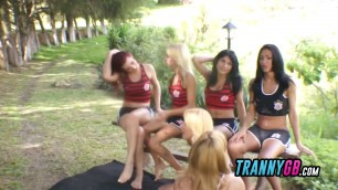 Volleyball game turns into a steamy six tranny gangbang