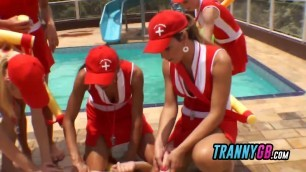 Tranny baywatch gangbang fantasy comes out at the outdoor pool