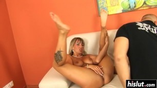 Two babes need only one cock