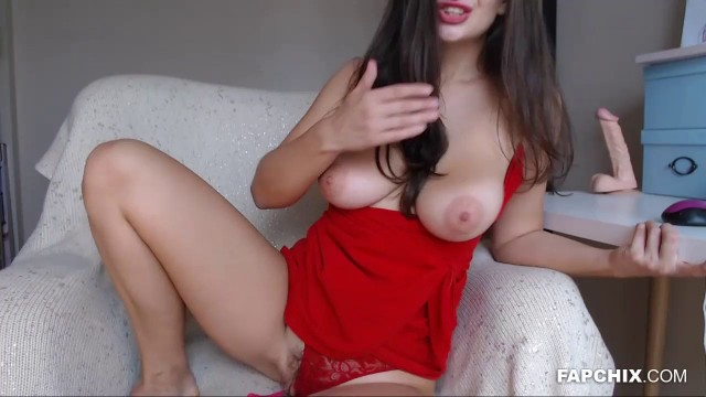Gorgeous Busty Brunette Masturbating On Cam