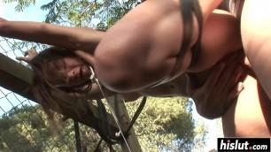 Huge dick drills her small ass