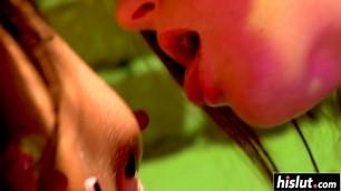 Brunette girls lick each other's cunts