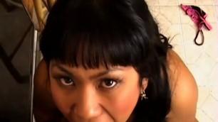 Brunette seduces her man in the kitchen
