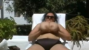 German BBW Granny with Huge Boobs Outdoors