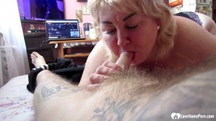 Blonde stepmom sucks on a hard cock