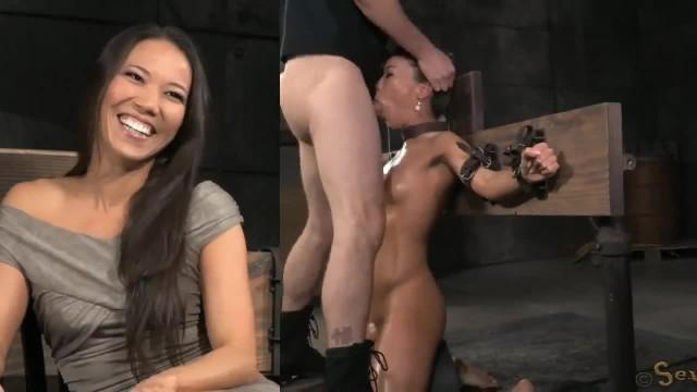 Hardcore-Bälle bohren tief im Hinterhof der Asiatin Kalina Ryu