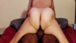 Mature hairy wife rides his cock anal