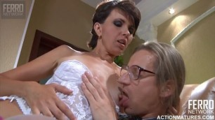 fuck older men finished in the mouth spat into his hand