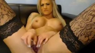 Beautiful Blonde Wearing Sexy Black Stockings