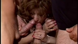 busty brunette mature fucks and sucks multiple cocks at once HI