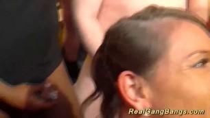 busty german milf gets wild gangbanged