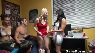 Insatiable college girls are having casual sex in their dorm during a private party with friends bachelor party orgy