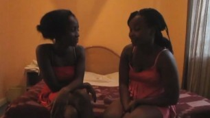 Horny Ebony lesbians use their sex toys to satisfy each other