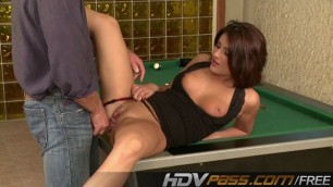 Brunette Bellina fucks doggy on billiard table