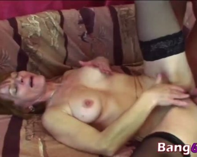 Granny greedily sucks hard dick while playing with soaking wet cunt