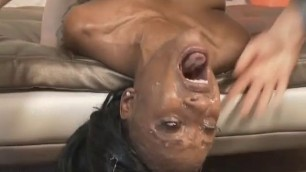 Black Whore From The Hood Harmony Gagging Down White Dick