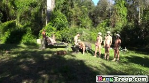 Gay military studs outdoor group sucking long dongs
