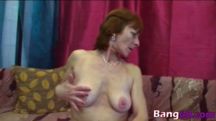 Horny brunette granny Ivet got her shaved pussy satisfied by young stud
