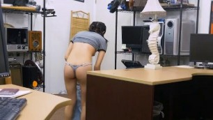 Cute Teen Brunette Doggystyle And Facial In Pawn Shop Office