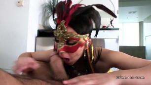 Masked natural busty babe anal fucks