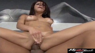 Monica Mattos stretches her mouth and throat wide to take meaty cock