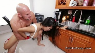 Big cock hunk fucks busty Latina spinner in kitchen