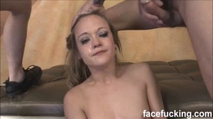 21 year old shy whore Keegan Kade takes on 2 cocks the face fucking style