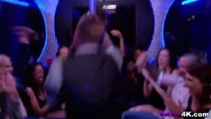 Nerdy brunette bar girl dances in full naked glory at swinger party