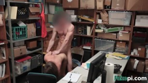 Small titted Brooke Bliss banged hard by a security guard guy in his office