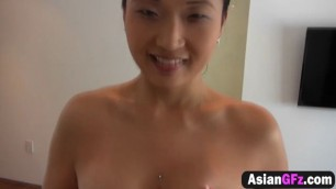 Adorable pierced Asian slut got her shaved pussy drilled well