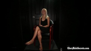 Blonde hottie sucks the cum out of strangers cocks