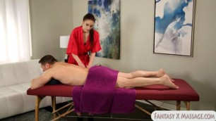 Tight masseuse fucked by her client on massage table