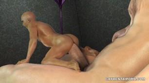 Miniature 3D cartoon hunk taking a hard cock deep in his ass