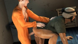 3D prisoner fucking a horny soldier's tight asshole