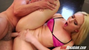NewSexation blonde chick squirts while getting fingered and fucked