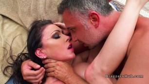 Huge boobs brunette gets cock from masseur
