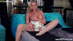 Blonde Danielle Maye strips panties for explicit pussy play till climax in her thigh high stockings