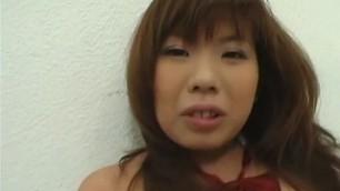 Busty Japanese oriental schoolgirl riding POV cock
