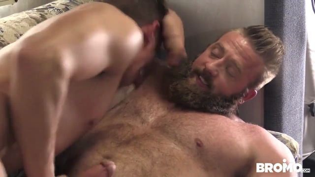 Aaron Bruiser Alexander Motogazzi Dirty Rider man with a beard pushes a guy on his cock Part 4