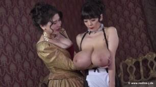 Anri Okita and Hitomi Tanaka Queen and Maid Kisses large breasts