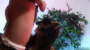 Kinky pussy cat Kristi Love smokes with a style while giving blowy