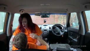Nice ass redhead Amie rides fake instructor in car