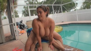 BBW Katie Girl with big ass and tits fucks with a pool cleaner
